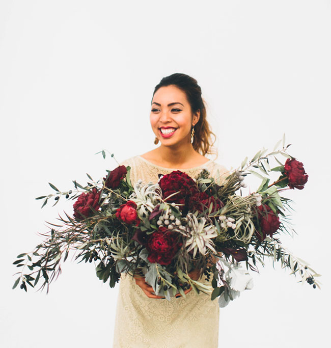 red floral centerpiece