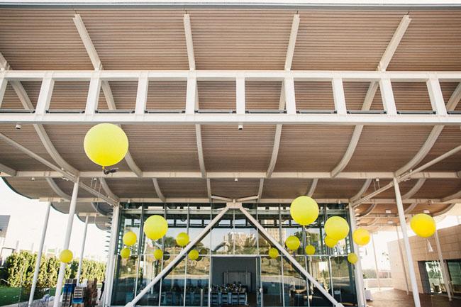 giant yellow balloons