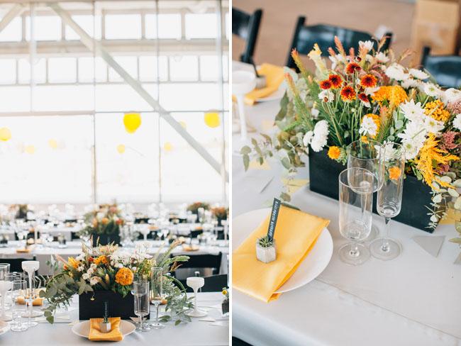modern yellow geometric reception