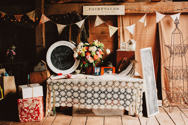 reception details for a barn wedding