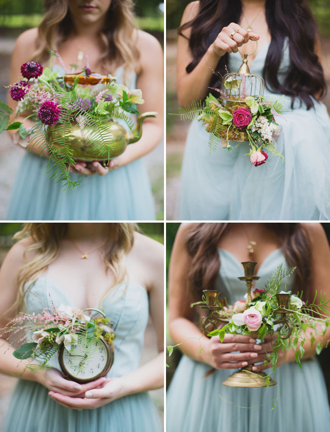 fairytale inspired bridesmaids bouquets