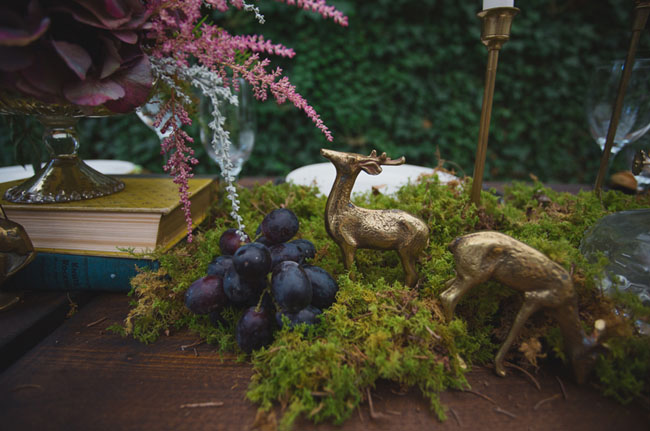 fauna and moss tablescape