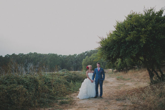 glamping bride and groom