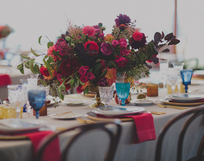 bright red centerpieces