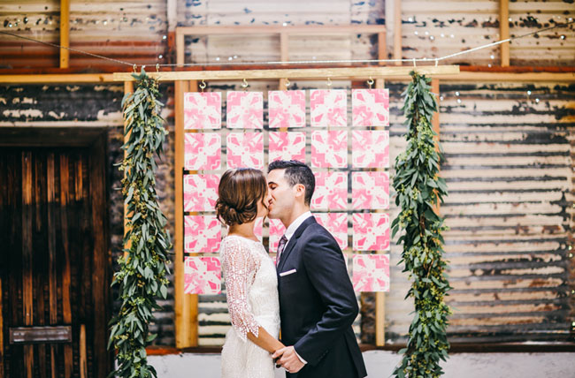 tile and garland backdrop