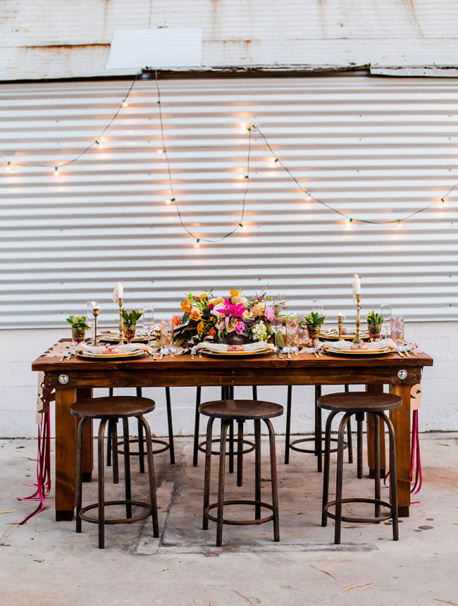 industrial string light tablescape