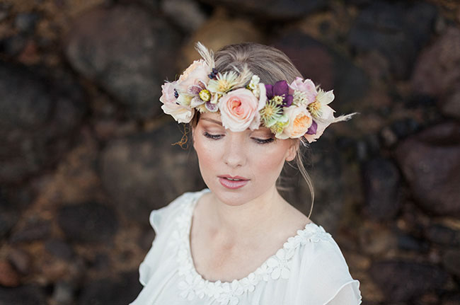pink flower crown