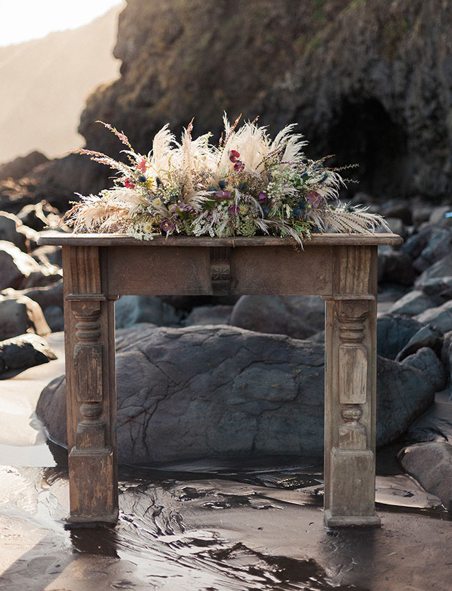 whimsical boho mantle floral piece