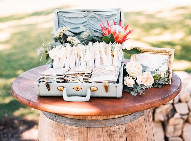 suitcase with ceremony programs