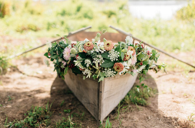 flower filled canoe