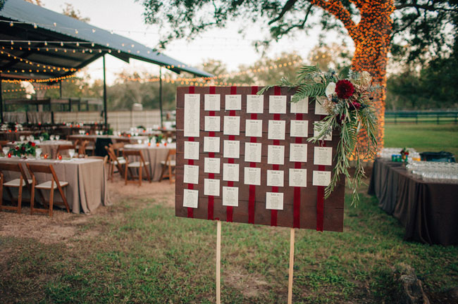 seating chart with floral embellishment