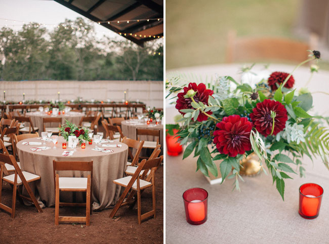 red dahlia centerpieces