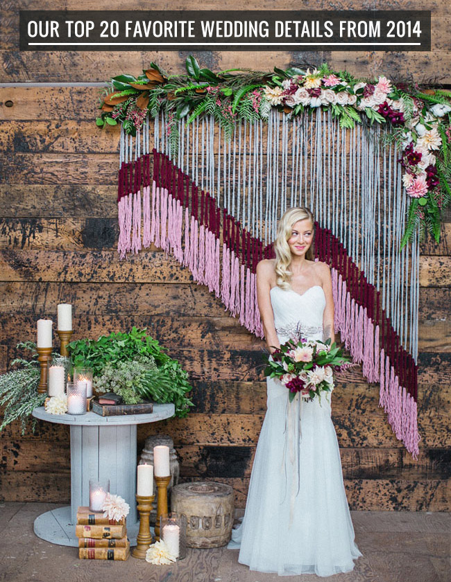 Our favorite wedding decor details from 2014 green wedding shoes weddings fashion - Wedding wall decoration ideas ...
