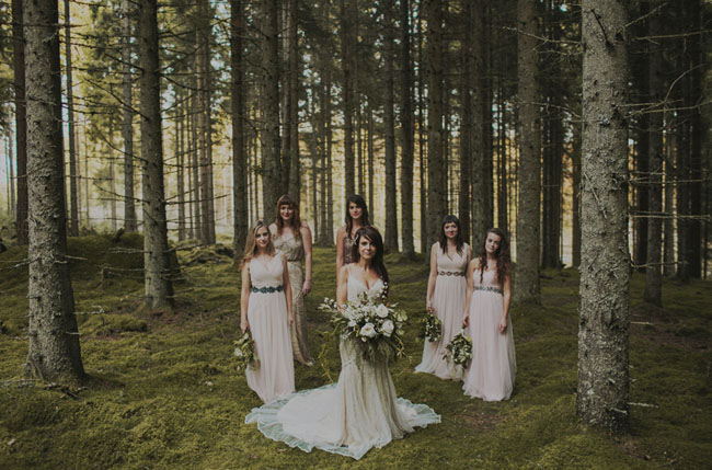 Swedish glittery bridesmaids