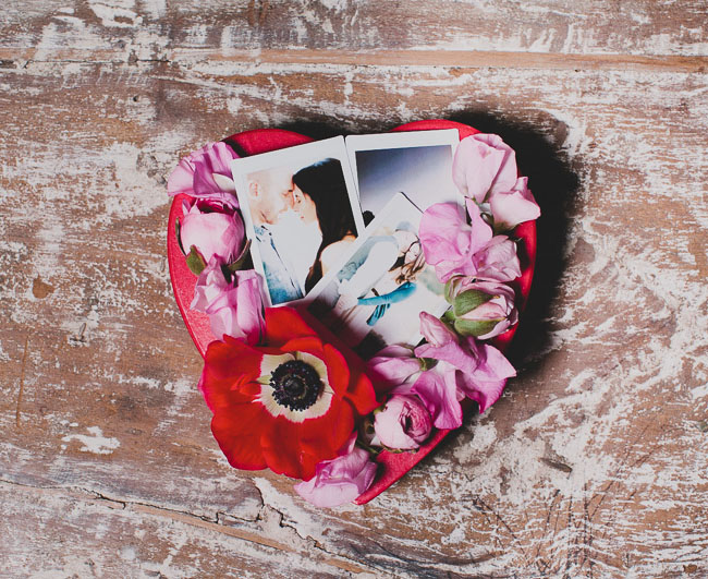 heart box filled with polaroids