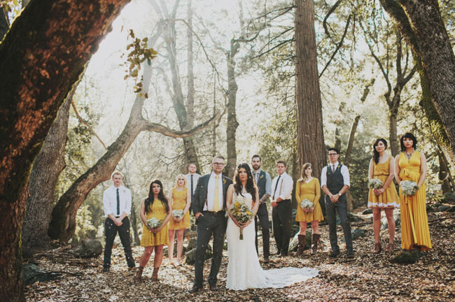 woodland wedding party