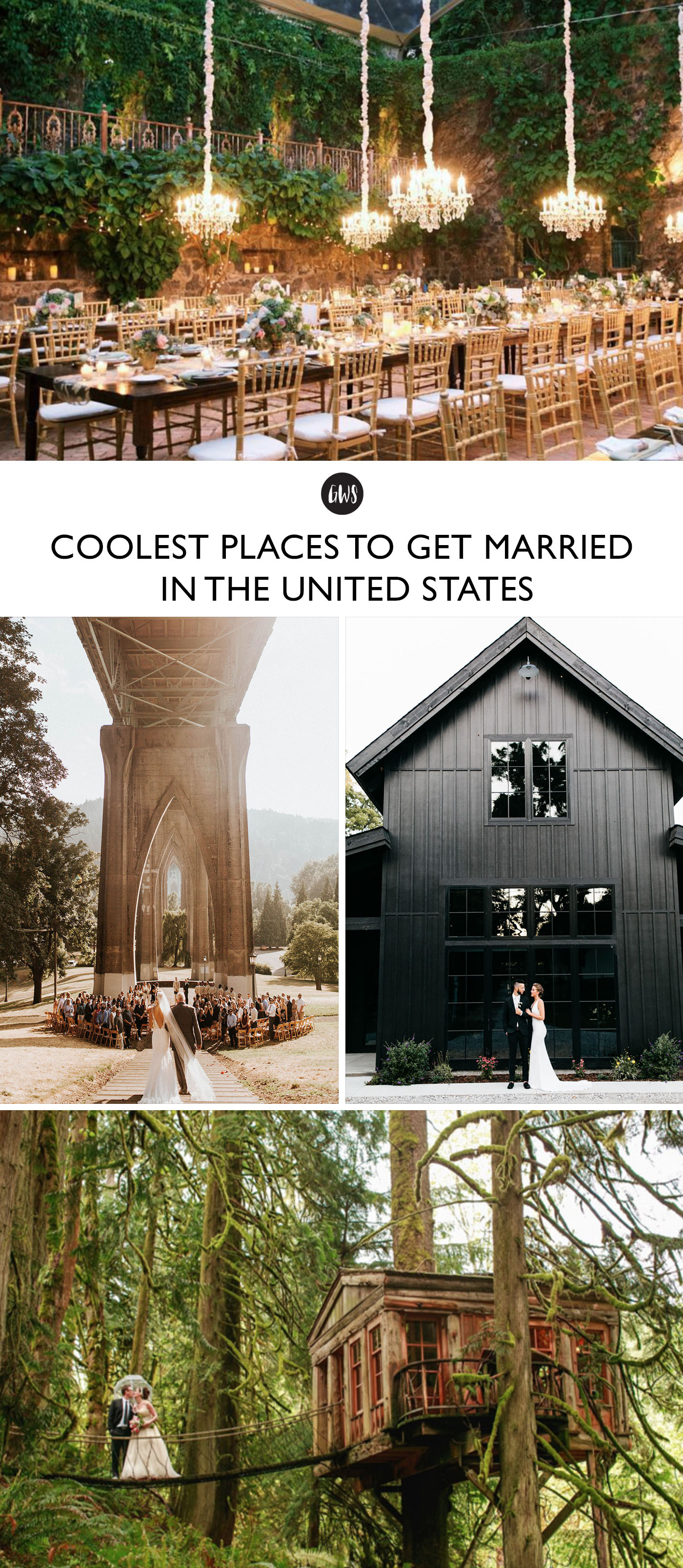 Cool Places to Get Married in United States - from barns to beaches, the best places to get married