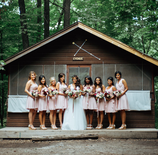 pink camp bridesmaids