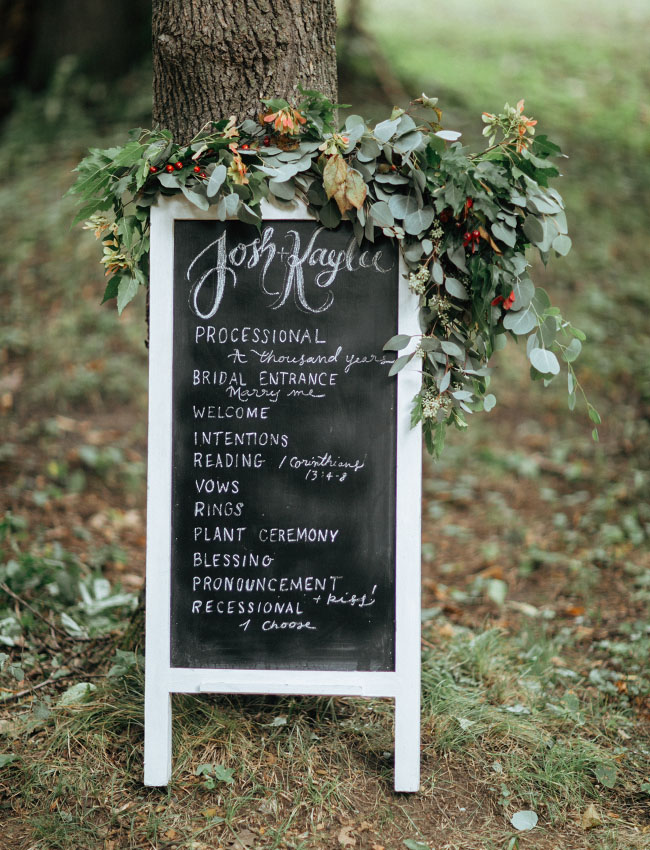 chalkboard program with florals
