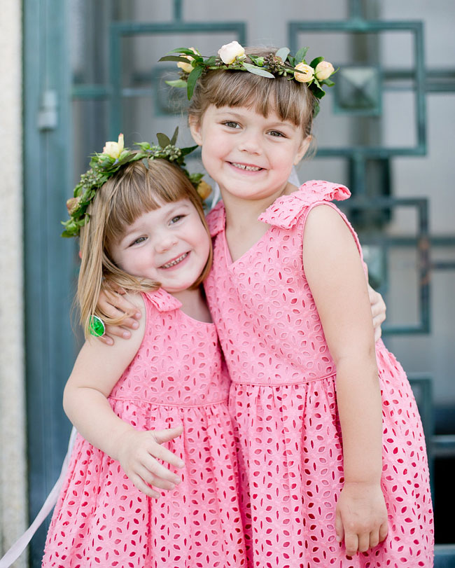 pink flower crown flower girls