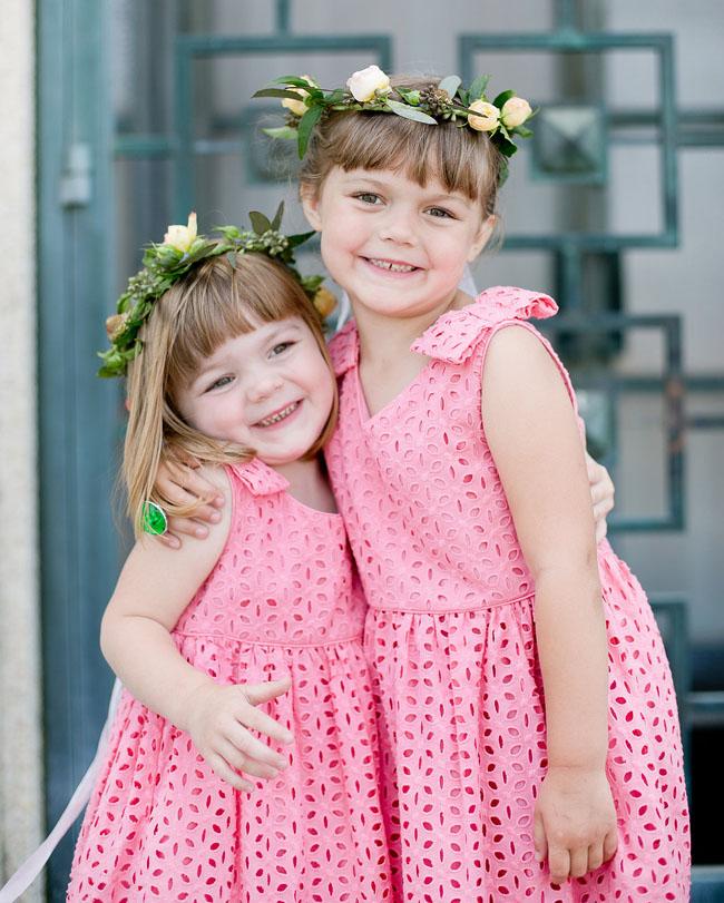 pink flower crown flower girls