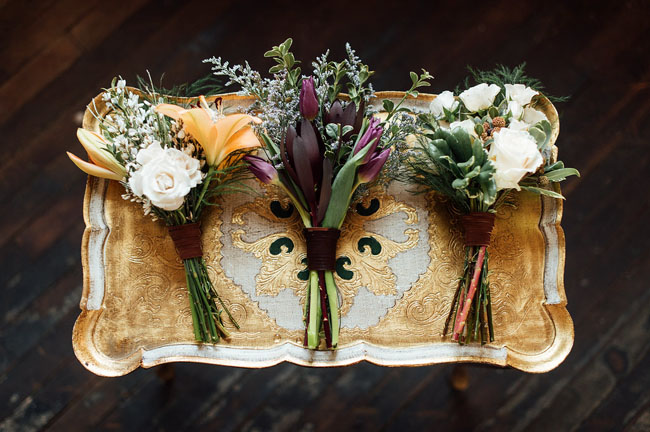 bouquets on vintage tray