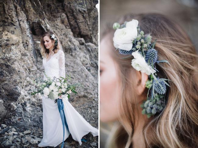 blue thistle flower crown