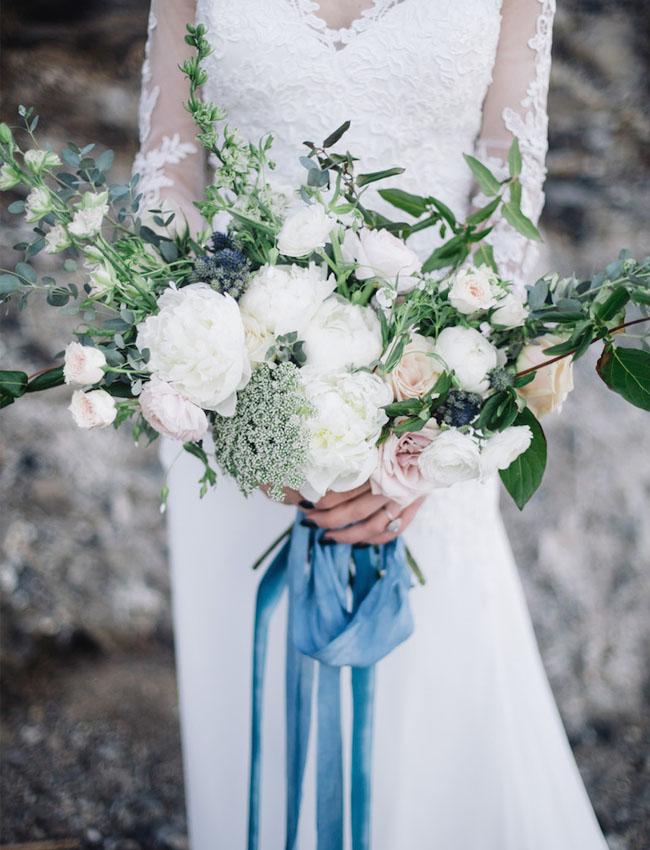 blue velvet wrapped bouquet