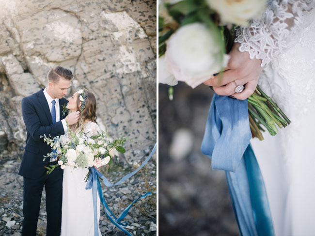 blue velvet wrapped bouquet