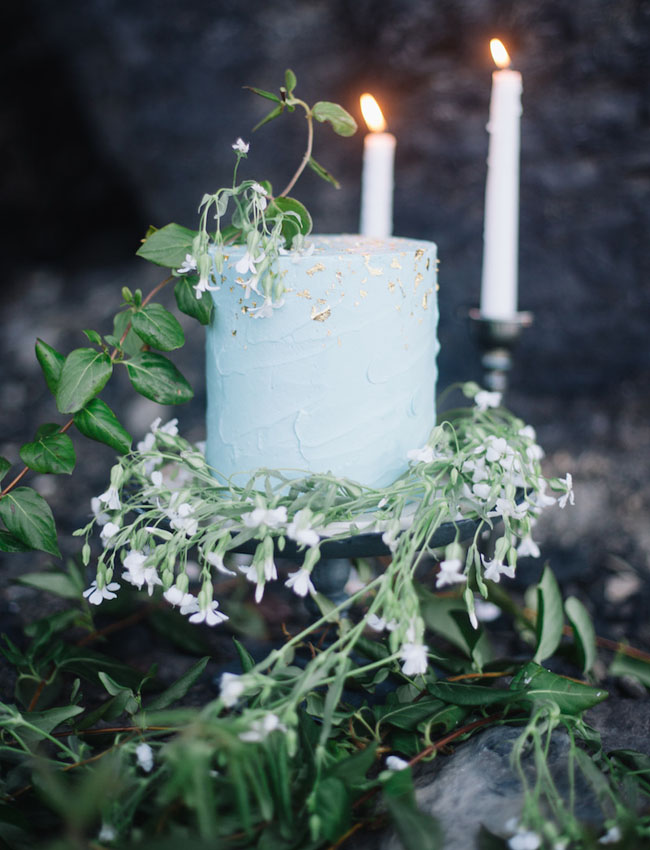 mint and gold flecked cake