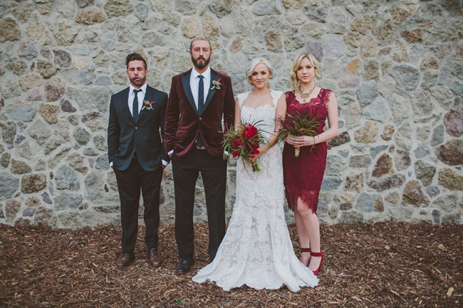 deep red wedding party