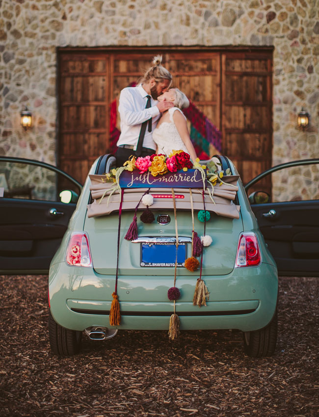 just married car with tassels