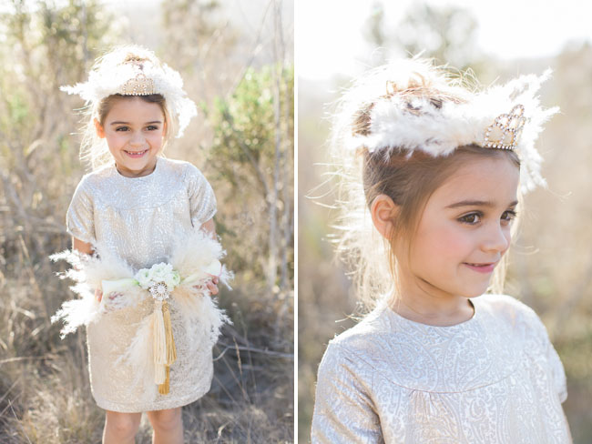 feather crown flower girl
