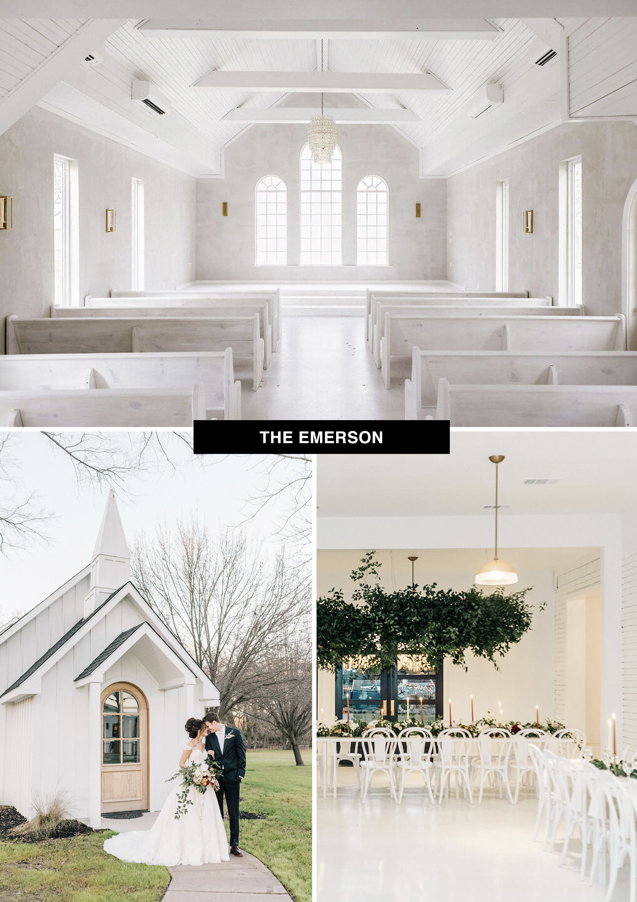Emerson wedding venue in Dallas, Texas designed by Leanne Ford is a cute white chapel for weddings