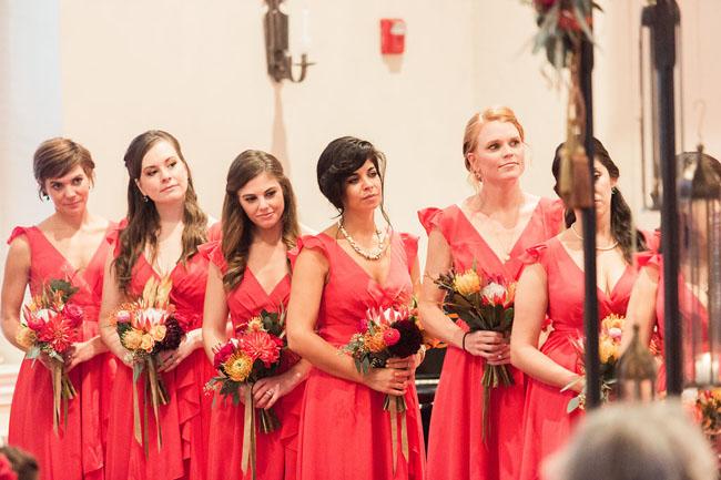 bright red bridesmaids