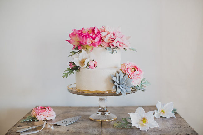 DIY Boho Cake with Flower Topper