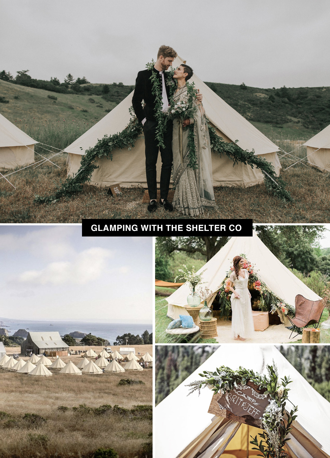 Glamping wedding with the Shelter Co allows you to create your own place to get married and rock it like a festival