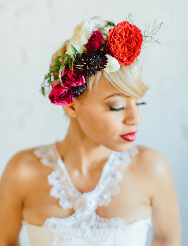 red Valentines flower crown