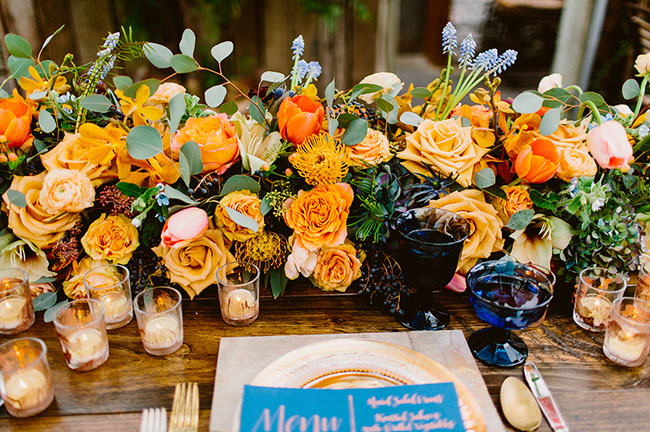 orange floral tablescape