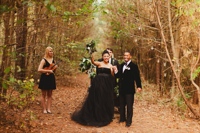 Modern woodland elopement