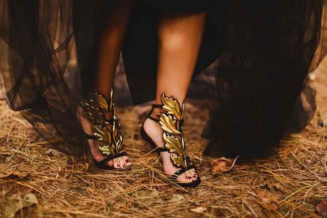 gold leaf heels