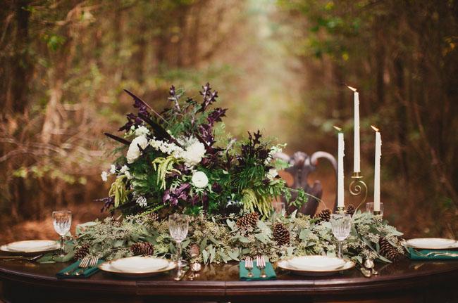 Modern woodland elopement