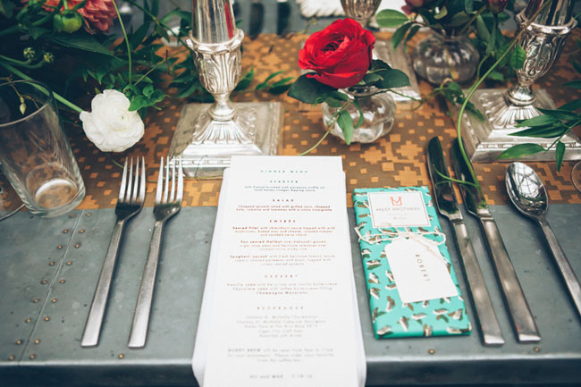 menu and chocolate bar favor