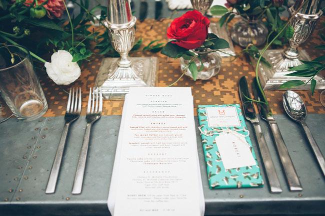 menu and chocolate bar favor