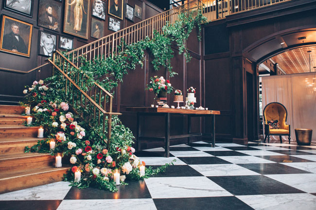 Flower filled florida bookstore wedding ali max green wedding shoes floral covered staircase junglespirit Choice Image