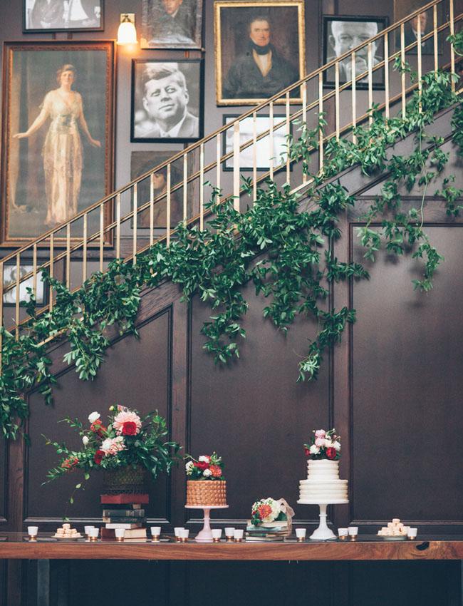 vine covered staircase dessert bar