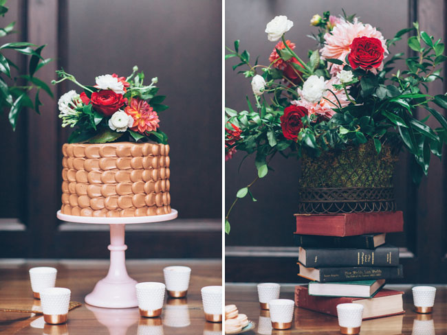 chocolate cake with flower topper