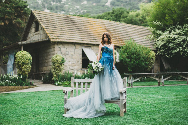 indigo dyed Rmine wedding dress
