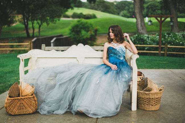 indigo dyed Rmine wedding dress