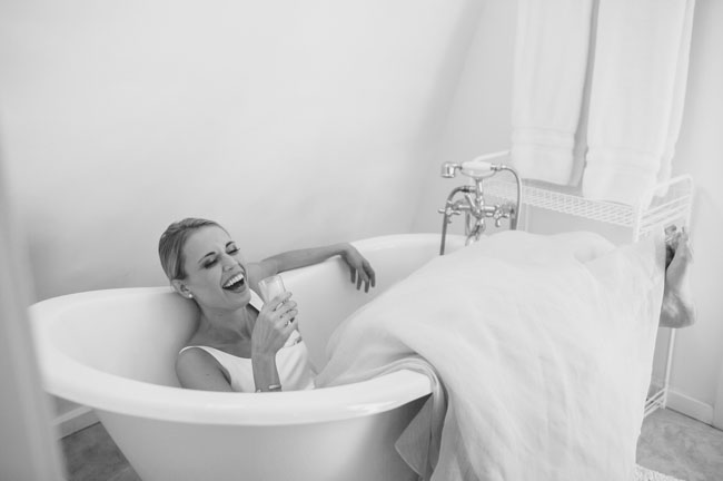 bride in tub